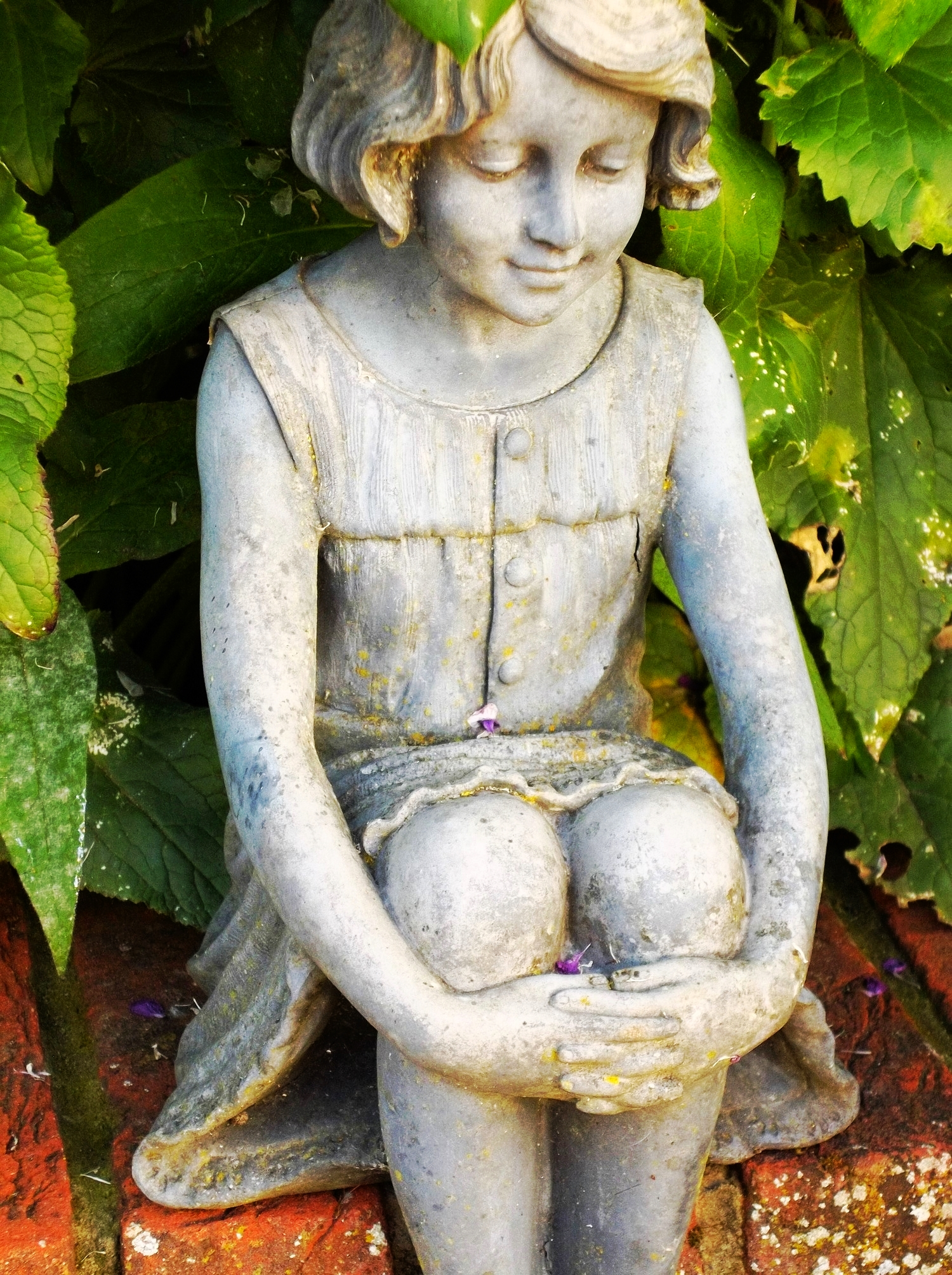 Small statue in Carol's Garden: I love how peaceful she is and the petals resting on her