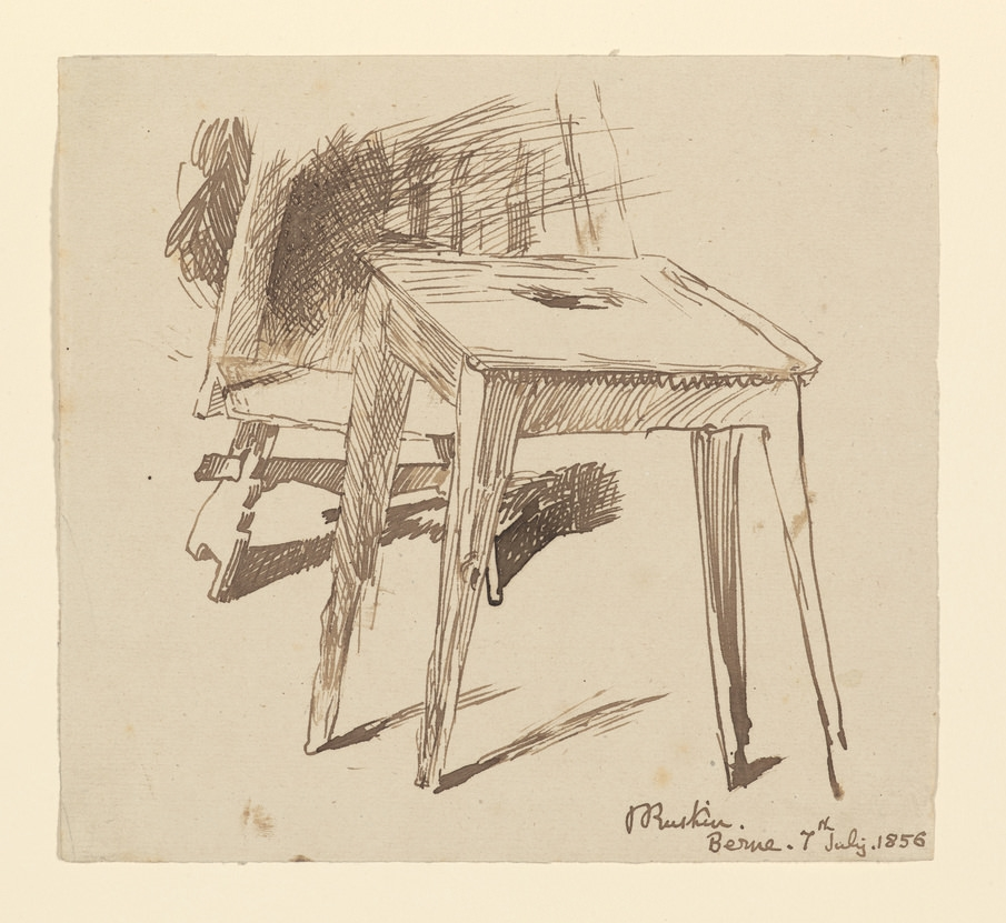Ruskin   Study of a table and bench [drawing]  July 7,1856 2015.41 Pierpont Morgan Library Dept. of Drawings and Prints.Pen and brown ink on wove paper. Originally part of a collection of letters to an artist friend.