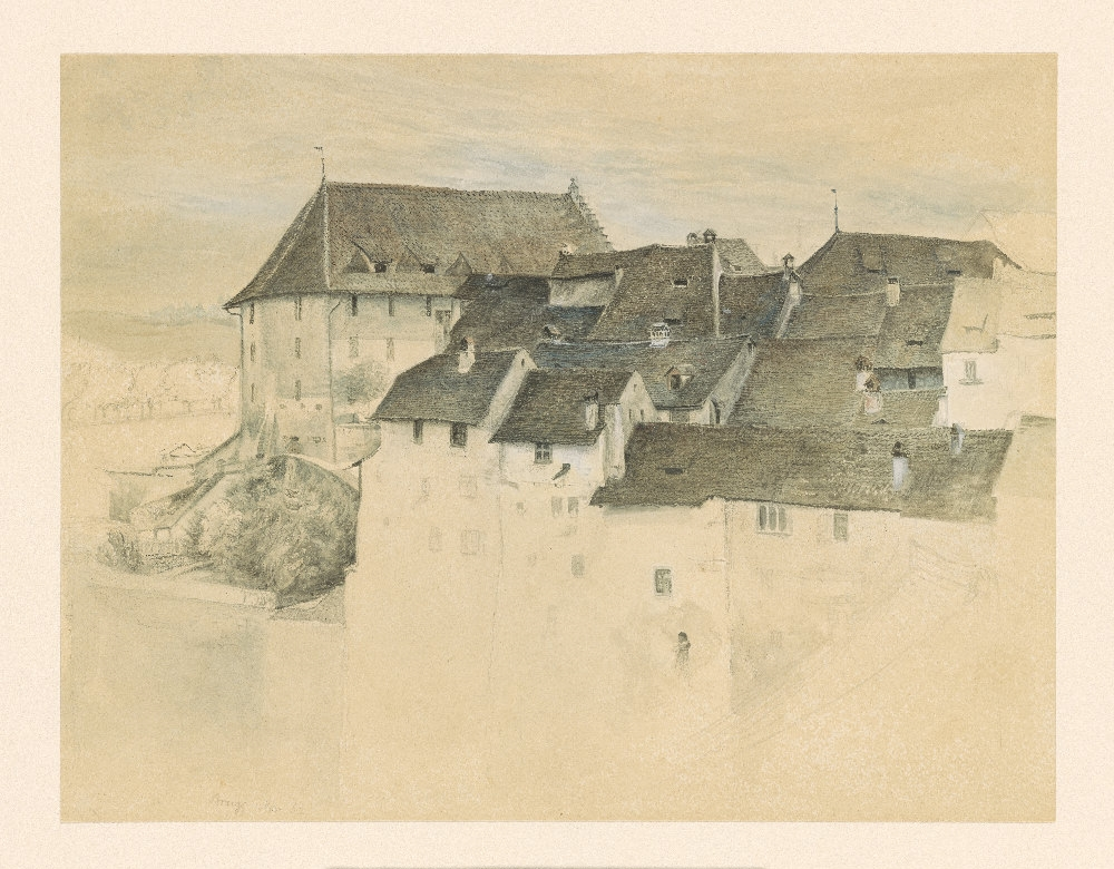 Ruskin   View of Brugg [drawing]   1862 1994.11 Pierpont Morgan Library Dept. of Drawings and Prints. Watercolor and gouache, with pen and black ink, over pencil, on paper.