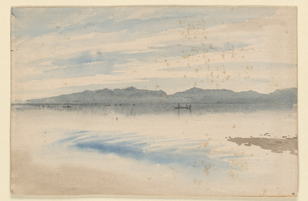 Ruskin   Mountain Lake with Boats in the Distance [drawing]  19th c.1962.4 Pierpont Morgan Library Dept. of Drawings and Prints.Blue, brown and black watercolor, over pencil, on paper.