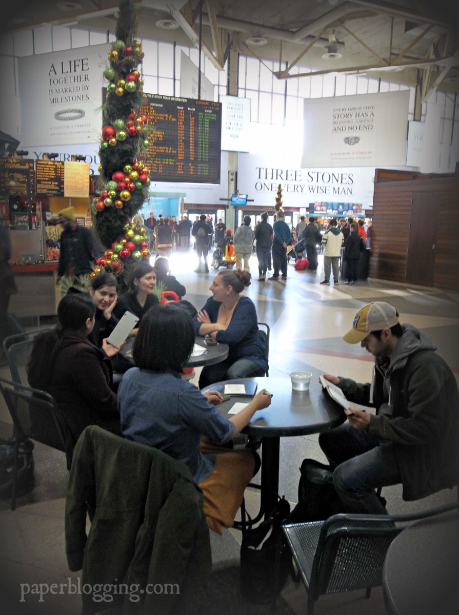Sketching as a group in South Station, Boston