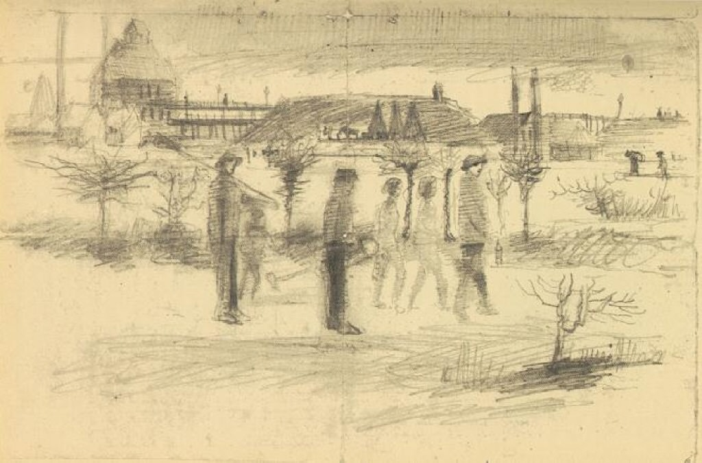 Miners in the Snow at Dawn , pencil sketch, 1880, age 27