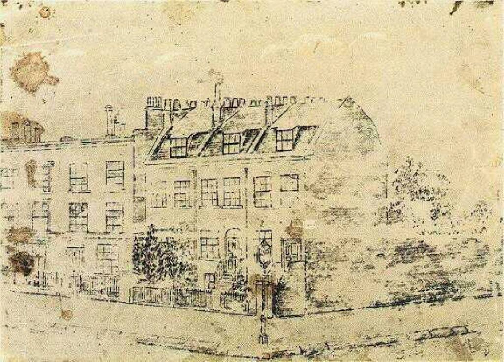 Vincent's Boarding House in Hackford Road, Brixton, London, c. 1873, age 20 (All works Public Domain)