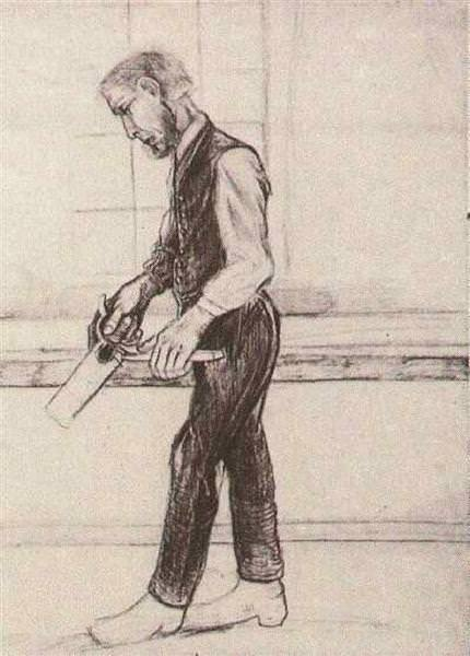 Man with Saw,  charcoal sketch, 1881, age 28