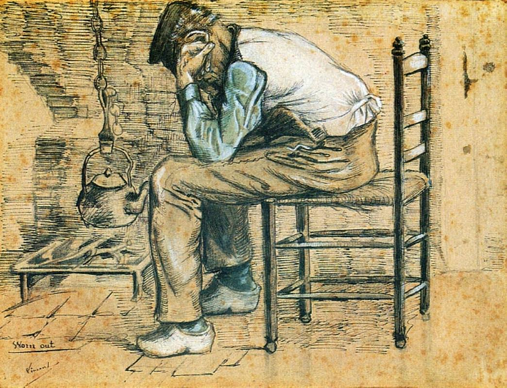 Peasant Sitting by the Fireplace (Worn Out), ink and watercolor, 1881