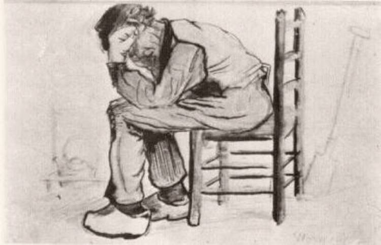 Peasant Sitting by the Fireplace (Worn Out), study in chalk and watercolor, 1881, age 28