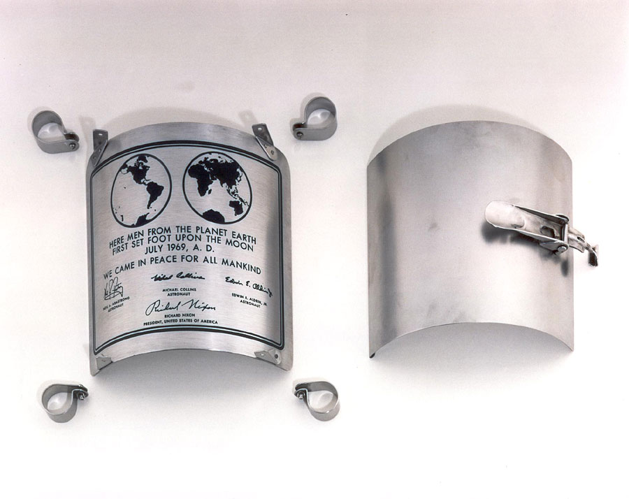 "The 9 x 7-5⁄8"" stainless steel plaque that was attached to the leg of the lunar landing ladder, Apollo 11"