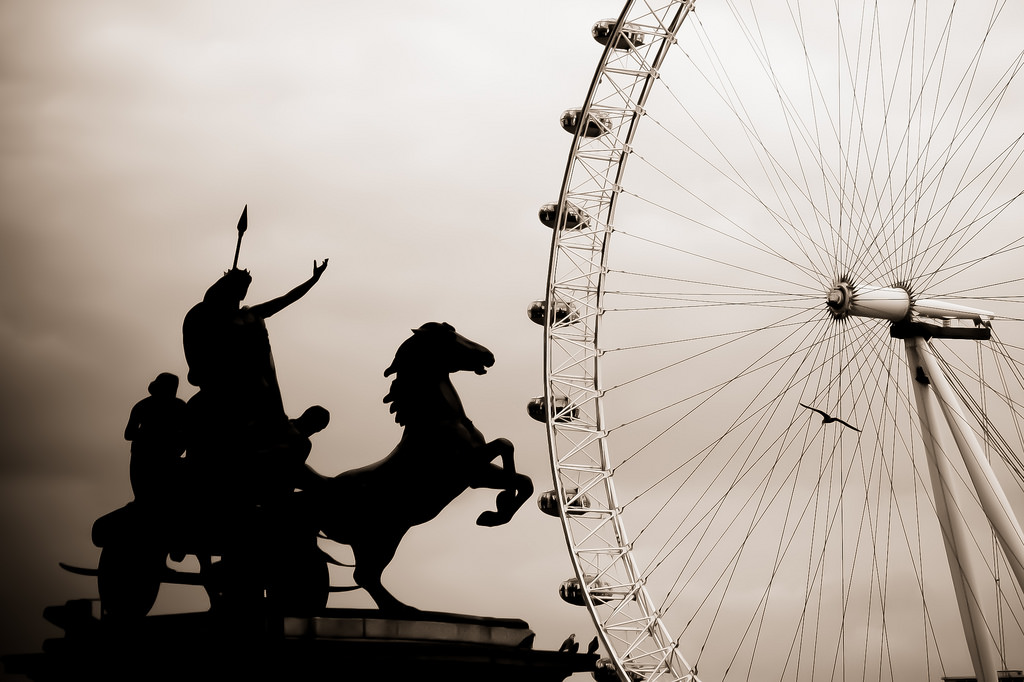 Queen Boadicea with the London Eye from across the Thames as backdrop.  Photo credit.