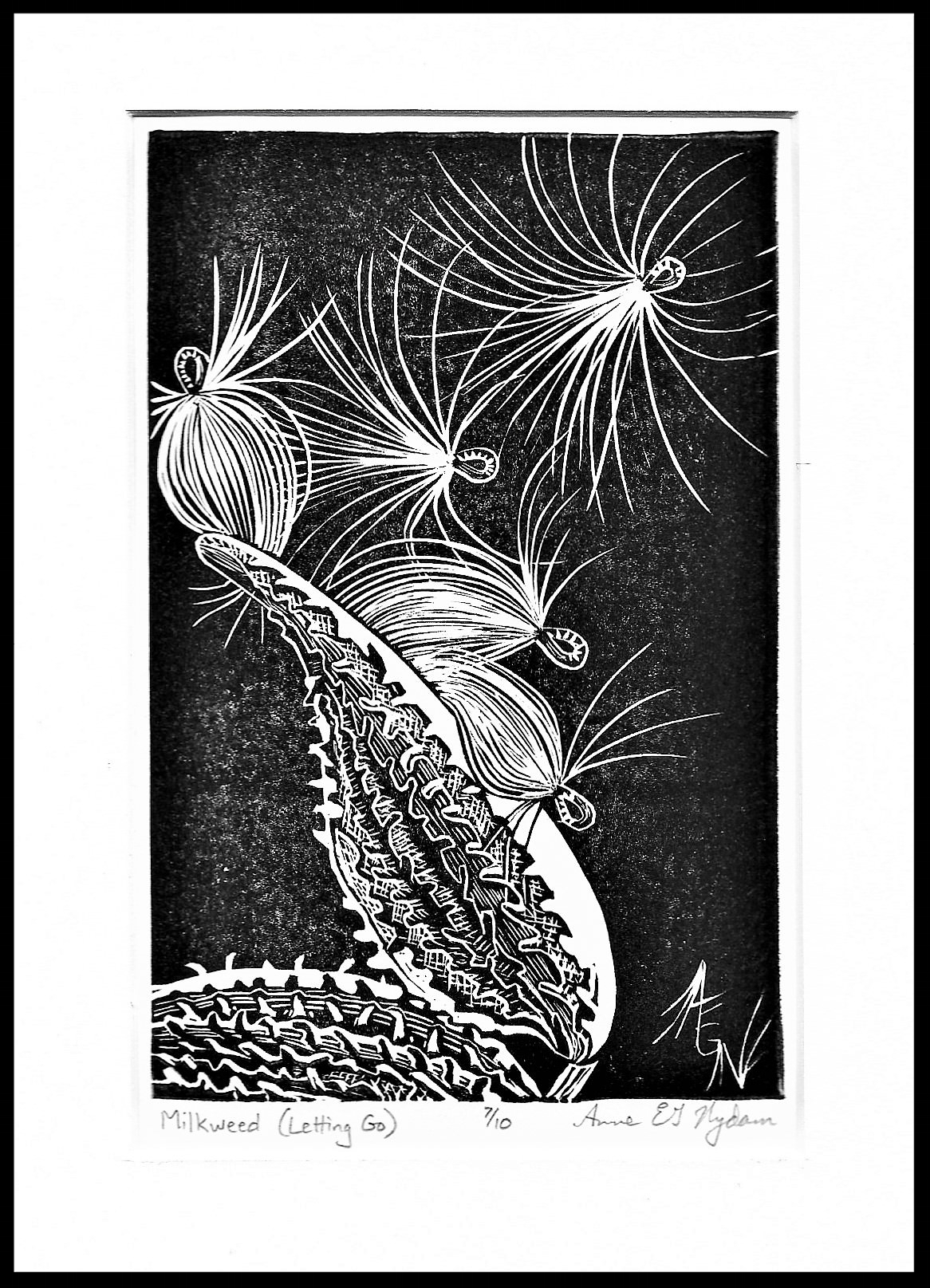"Block print, Anne E.G. Nydam, limited edition  available here . The artist says, ""I am an artist, a writer, a stay-at-home mother, and a negligent housekeeper. I am full of gratitude and wonder for all the beauty in this world and all the magic of the imagination. No wonder I have no time for housework."""