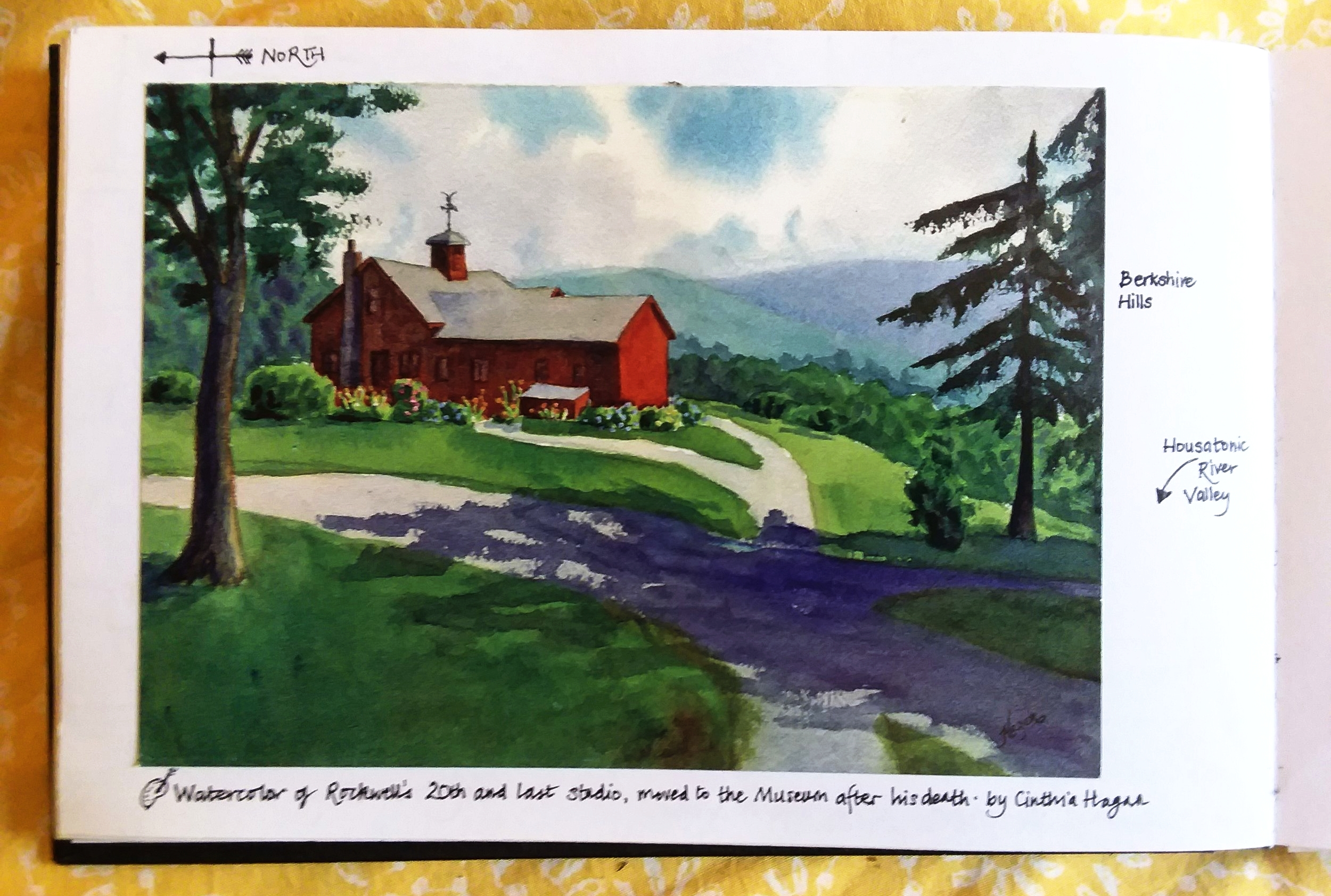 Purchased postcards can quickly fill your sketchbook with color and a fresh view.  Watercolor by local artist Gina Hagan, my notes added around the edge.