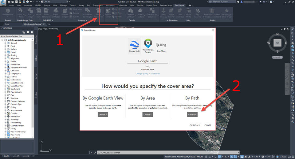 """a) Click the """"Import Terrain"""" button in Plex.Earth, choose Google Earth and click the button under """"By Path""""."""