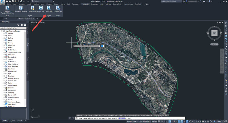 """Click the """"Export IMX"""" button through the """"Infraworks"""" ribbon, and click enter to accept the file version. Then you will be prompted to specify the location of the file to be saved."""