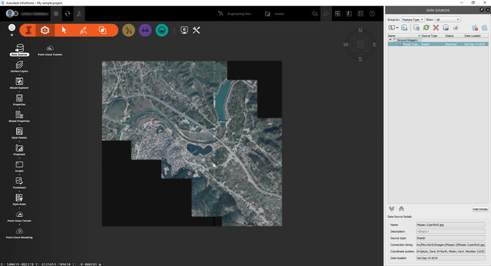 The imagery mosaic imported from Google Earth into Infraworks.