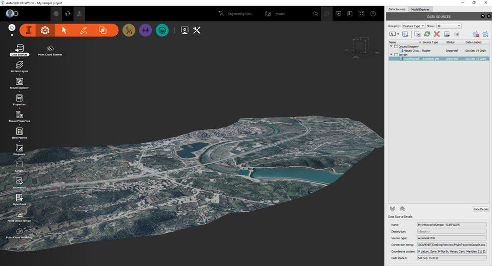 The 3D view of your project area inside Infraworks, readily available for you to start your design.