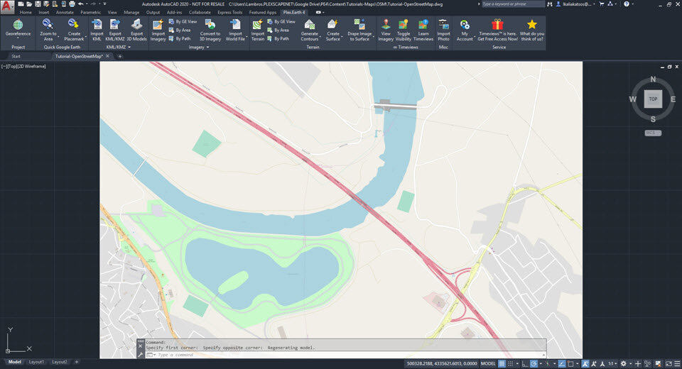 In this image you see the imported map in CAD.