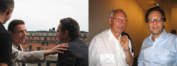 Left: Artist Marcel Odenbach and Udo Kittelmann. Right: Collector Lars Thulin and Daniel Birnbaum.