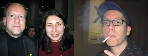 "Left: Philosopher Sven Olov Wallenstein with curator Natasa Petresin. Right: ""Notre Histoire..."" artist Boris Achour."