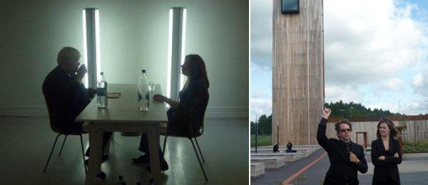 Left: Heman Chong's performance reading of Maarit Verronen's book Kulkureita  ja  Unohtajia. Right: Punkt Ø (Momentum) director Dag Aak Sveinar and Momentum curator Aura Seikkula in front of Solberg Tower.