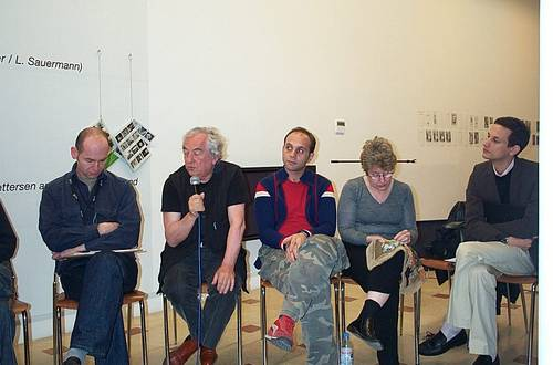 From left to right: Vasif Kortun, Daniel Buren, Anton Vidokle, Martha Rosler and Jens Hoffmann. Picture: Power Ekroth