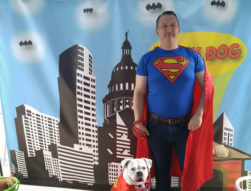 Superman owner and dog