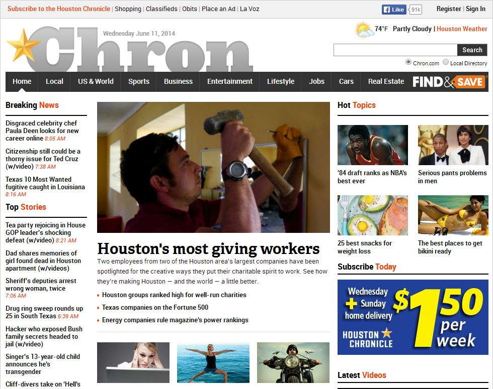 Frontpage of the Houston Chronicle
