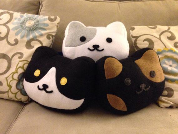 Neko Atsume cat head pillows