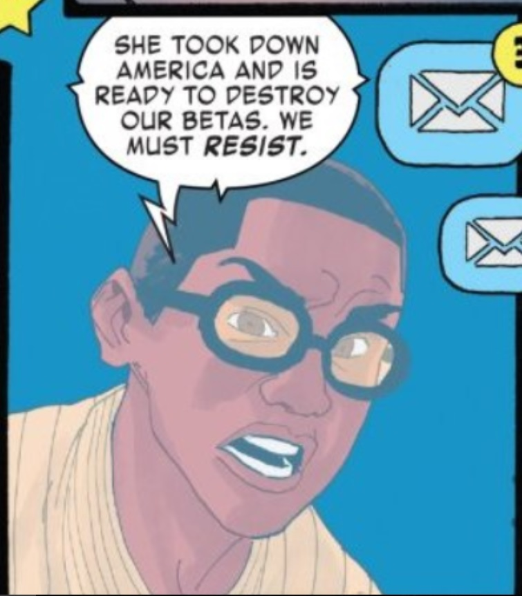 One panel from America #10  Prodigy: She took down America and is ready to destroy our betas. We must  resist .