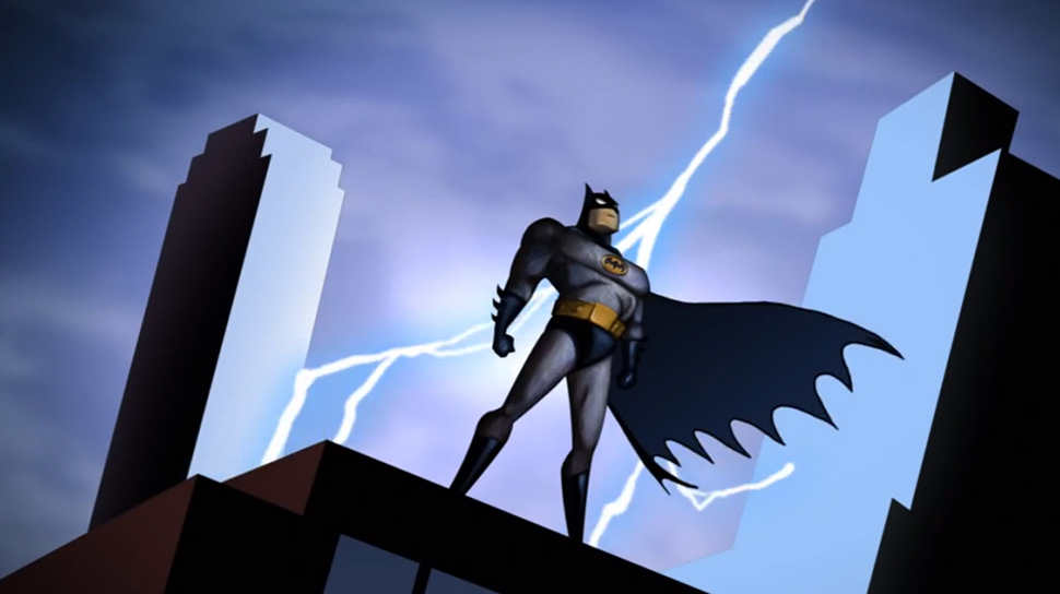 Still from the opening credits of  Batman: The Animated Series