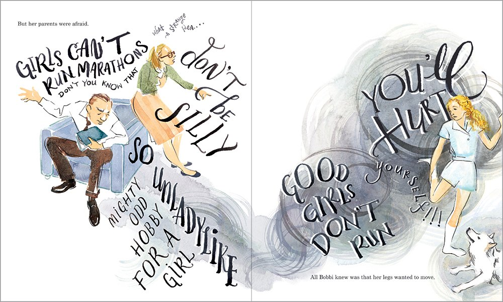 Spread from  The Girl Who Ran , showing Bobbi being confronted with her parents' objections.