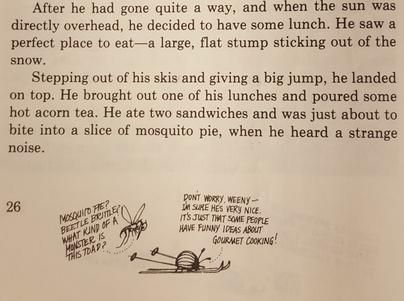 Excerpt from page twenty-six of  Cricket , January 1976; buggy marginalia in response to  A Toad for Tuesday  by Russell E. Erickson.