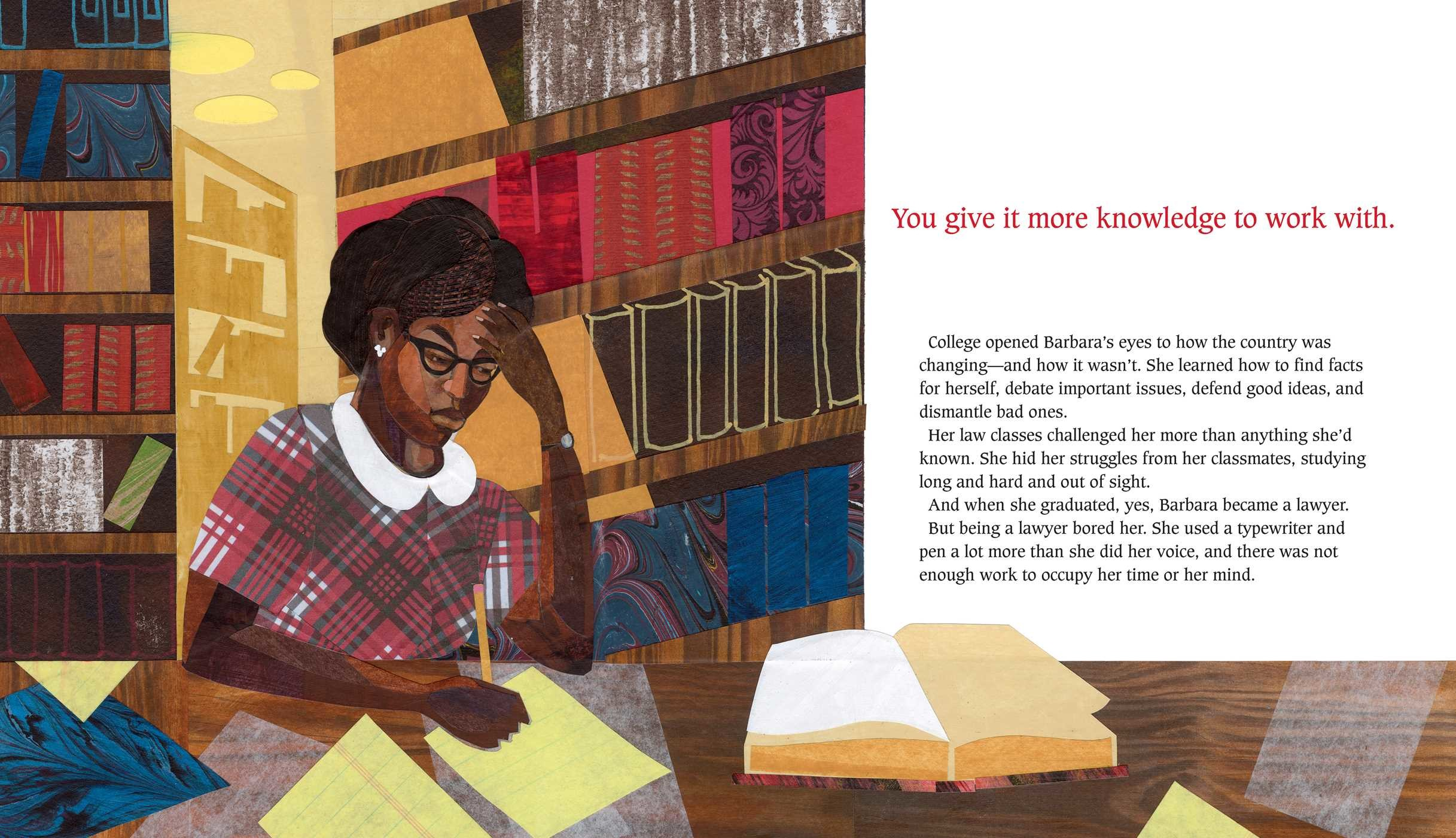 Interior from  What Do You Do With A Voice Like That? , written by Chris Barton, illustrated by Ekua Holmes