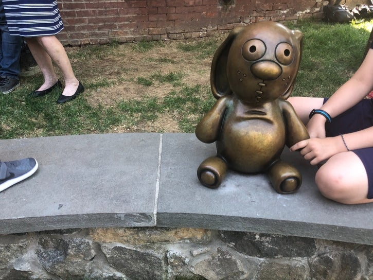 Knuffle Bunny statue; photo by Anna Quinn via Patch.