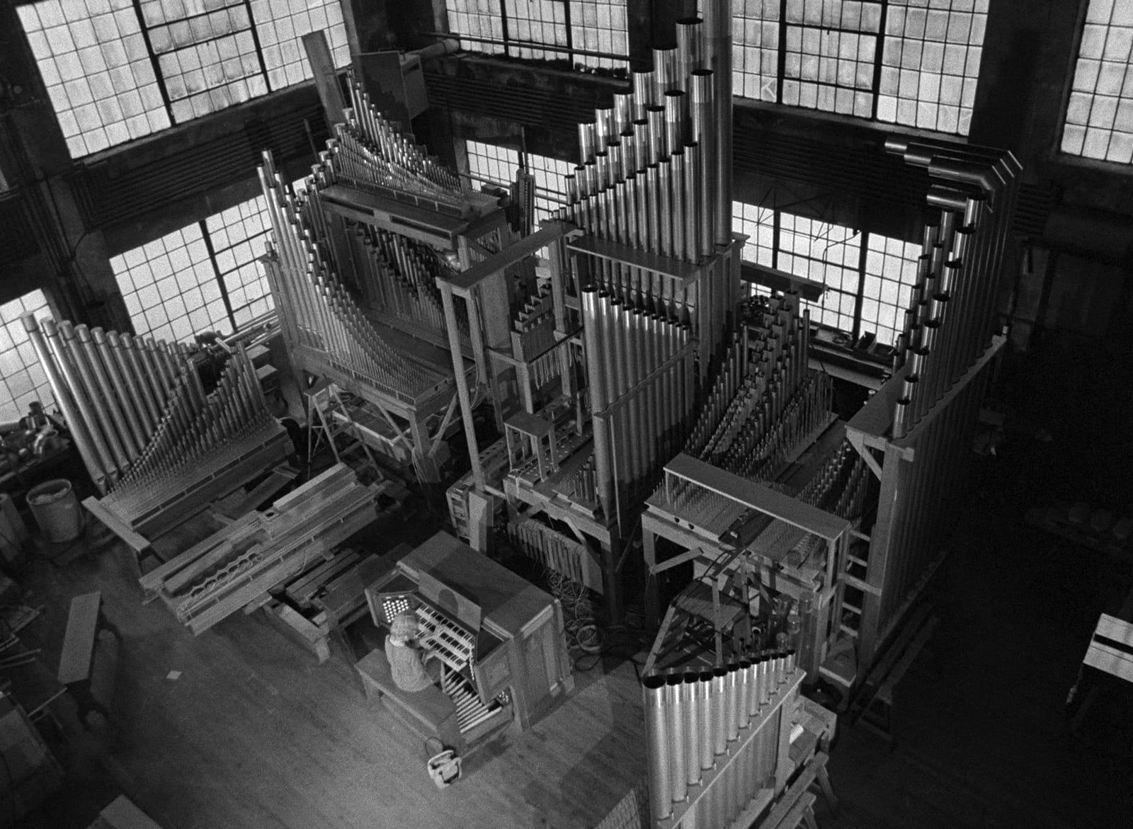 Carnival of Souls  still: Candace Hilligoss (as Mary Henry) practicing organ in an organ factory.