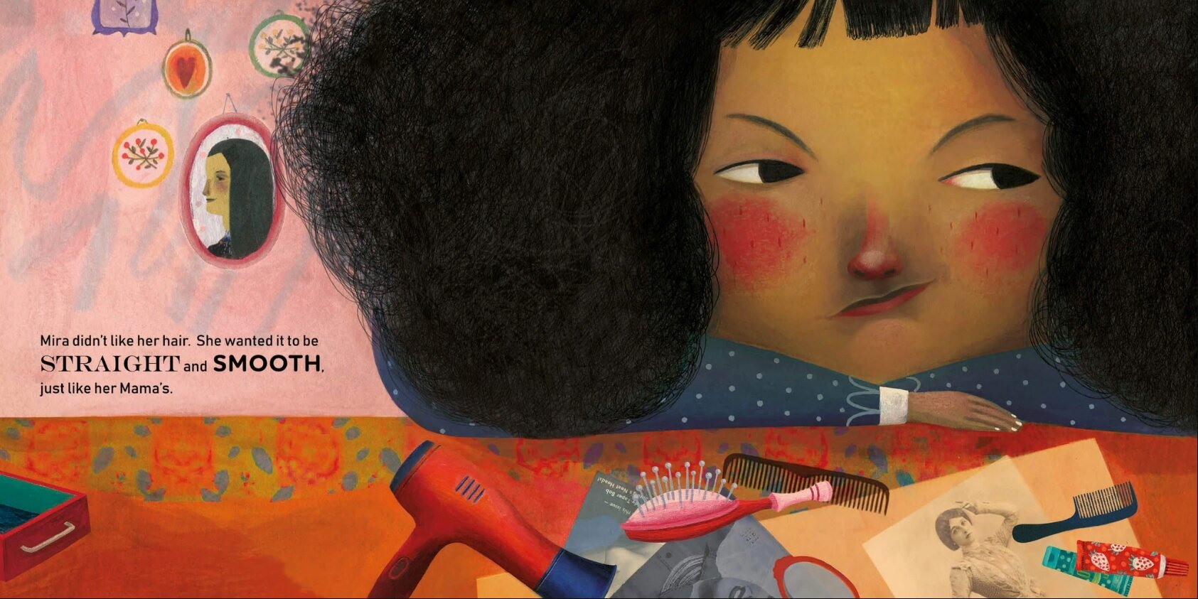 Supremely Unimpressed Face from  Mira's Curly Hair , by Maryam al Serkal, illustrated by Rebeca Luciani
