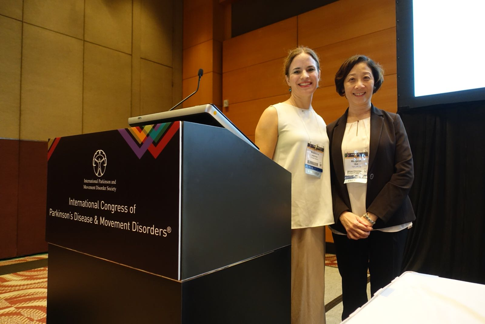 Recent Accomplishments - In October, MDT co-founder Dr. Madeleine Hackney spoke with Dr. Margaret Mak of Polytechnic University, Hong Kong, at the 2018 International Congress of Parkinson's Disease and Movement Disorders in Hong Kong. They described exercise therapies that are currently popular for people with PD, including Tai Chi, boxing, dance and nordic walking. They provided evidence supporting the efficacy of these therapies and discussed underlying principles of safe exercise for people with PD.Congratulations Dr. Hackney!