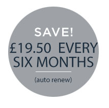 £34.50 every six months  (no need to remember to renew)