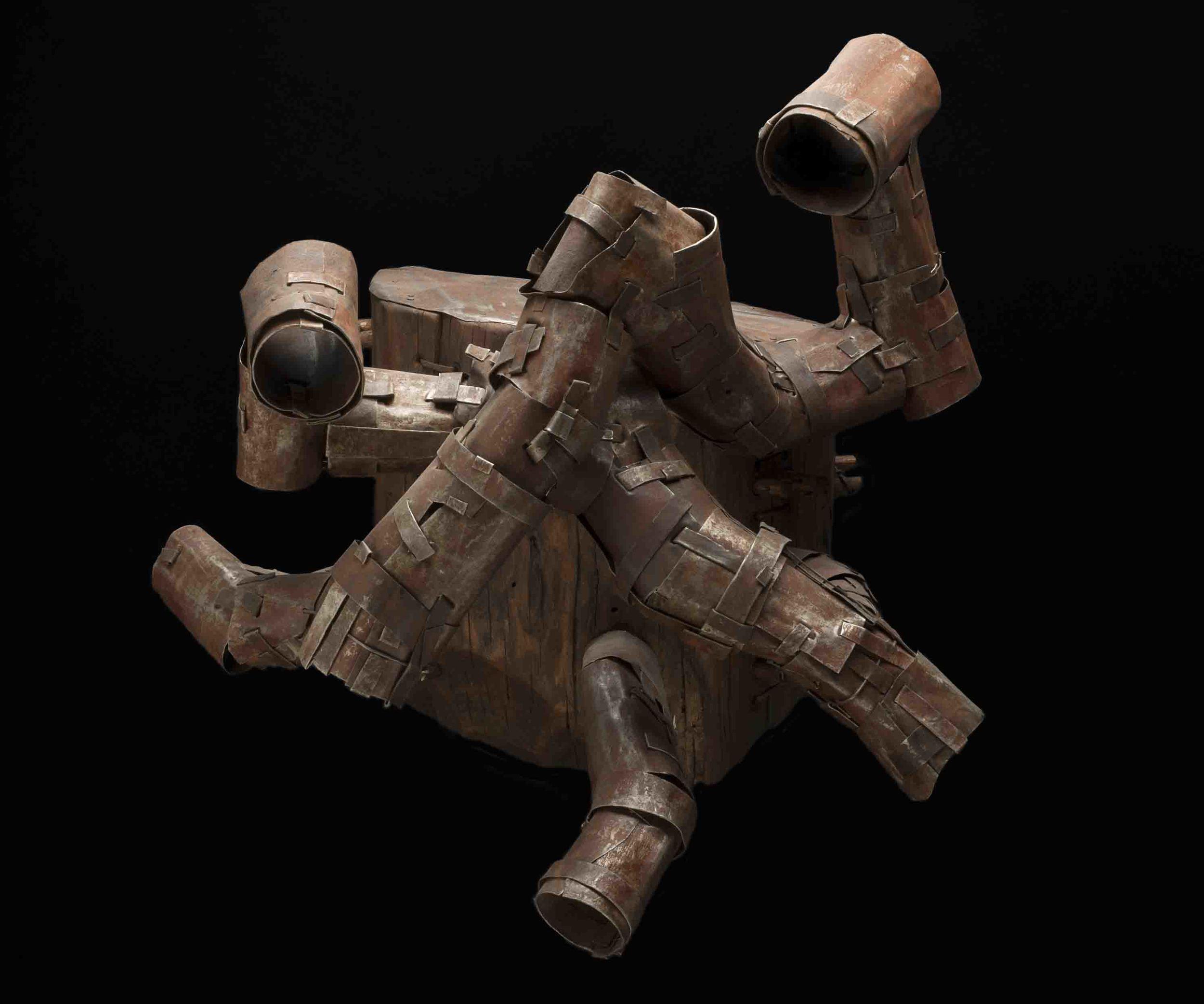 Keith Goodhart Tube Head, 2009 Roofing metal, wood / 15 x 18 x 15 inches (38.1 x 45.7 x 38.1 cm) / GK 217