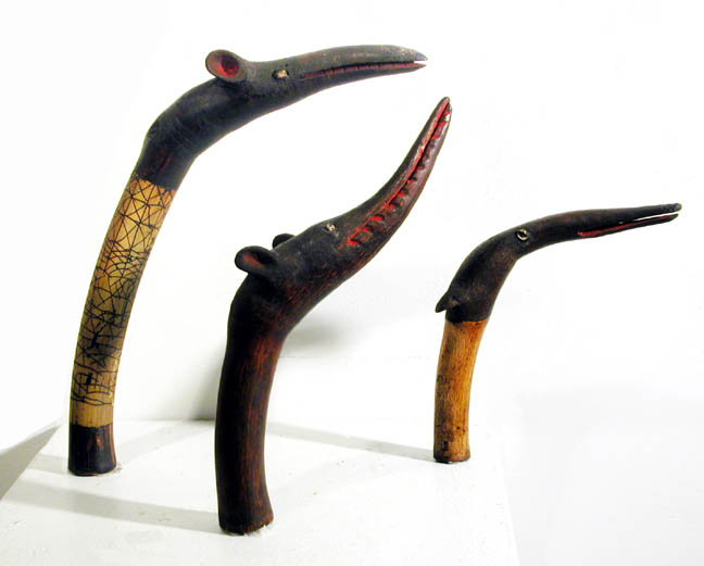 New Guinea Set of Three Shaman's Pipes, Mendi Valley, South Highlands, Mid 20th century Bamboo, pigment, shell 8 x 8 x 1 in, 11 x 6.5 x 1.5 in, 13 x 10 x 2 in  /  NG 19