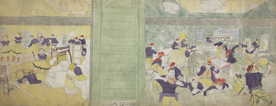 Henry Darger Untitled (3 Slowing attackers confused by defenders in house), n.d. Watercolor, pencil, and collage on paper 19 x 48 inches  /  48.3 x 121.9 cm  /  HDa 1