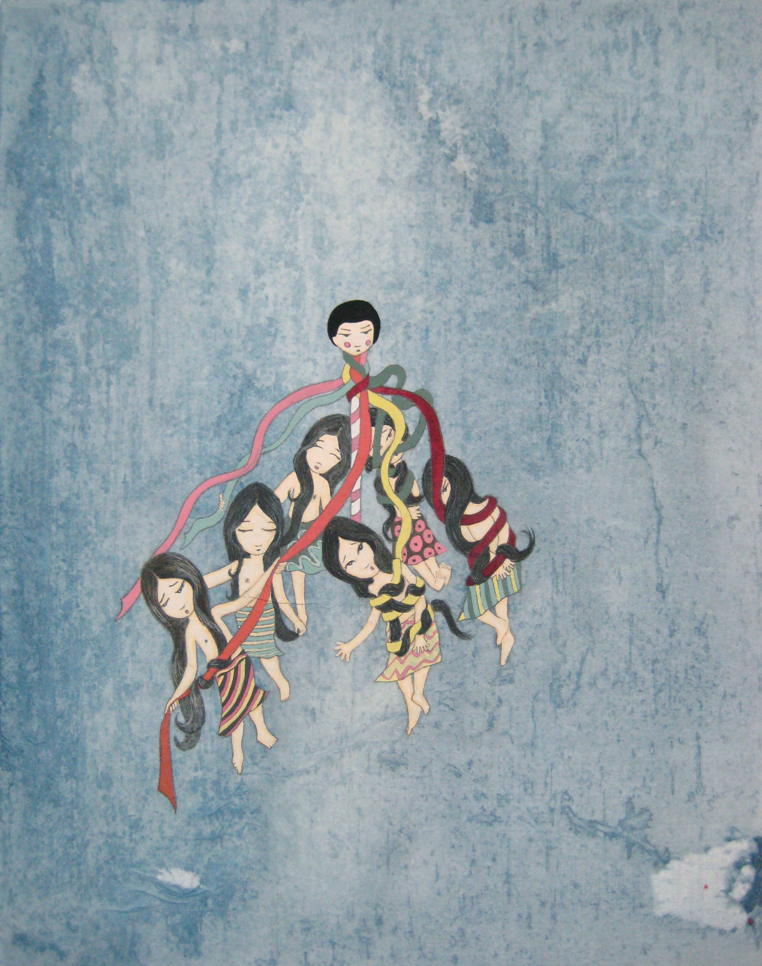 Kyung Jeon Karnival Maypole Long Hair, 2011 Watercolor, gouache, graphite on rice paper mounted on canvas and wood panel 14 x 11 inches  /  35.6 x 27.9 cm  /  KJe 2
