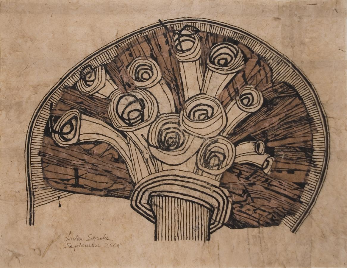Lidia Syroka Untitled , 2008 Black Ink, Walnut Stain, Paper 25.5 x 33 inches / 64.8 x 83.8 cm / LSY 30