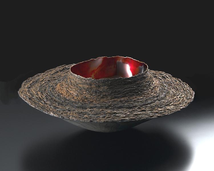 Toshiaki Fujita Layered Form 1, 2004 lacquer, earth powder, gold leaf 19. 1/4 x 19 2/4 x 6 3/4 inches / 48.9 x 49.5 x 17.1 cm / Tof 1
