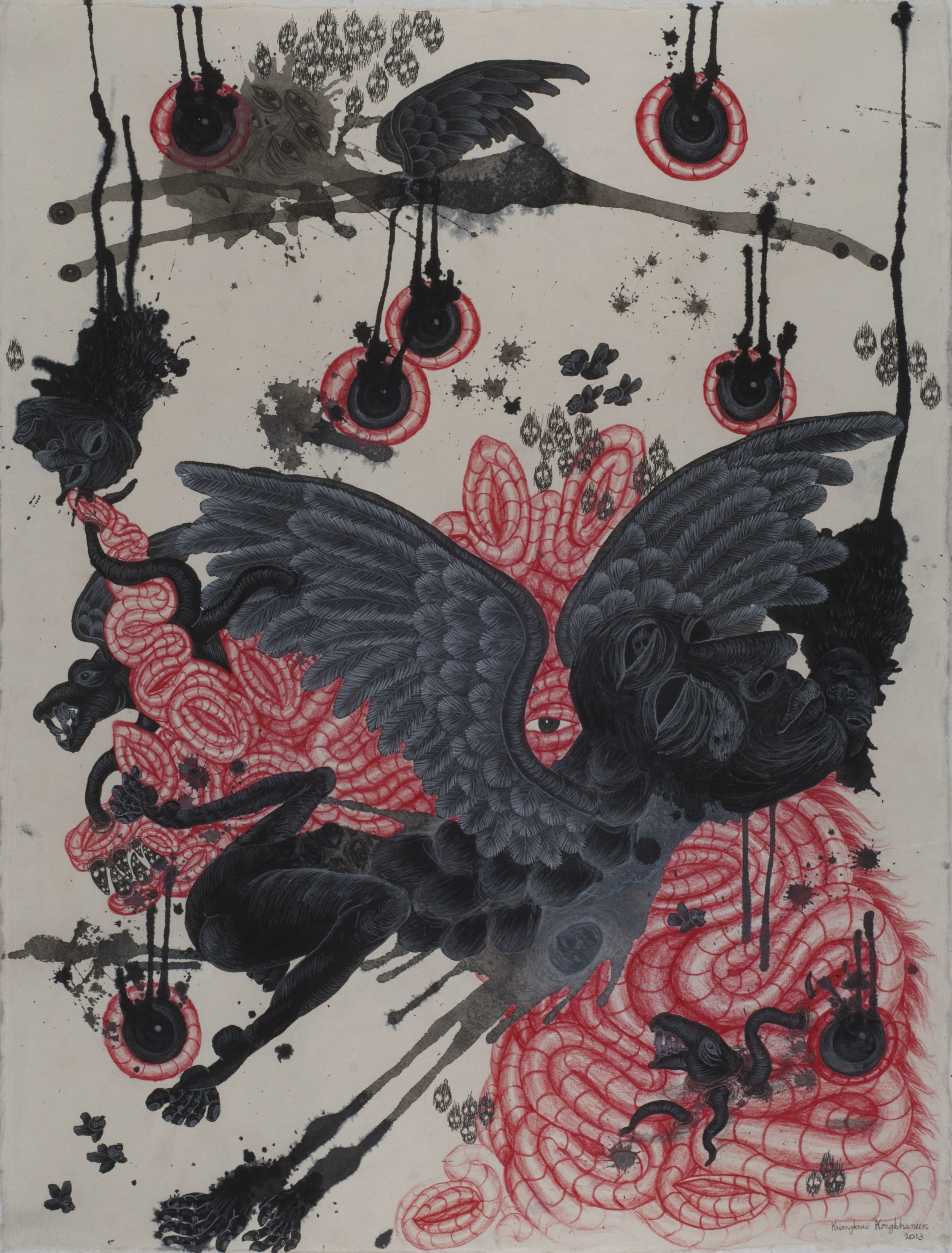 Kriangkrai Kongkhanun    Black Rain  , 2013 Chinese ink, pen, pencil on Thai handmade paper 31.5 x 23.62 inches  /  80 x 60 cm  /  KrK 1