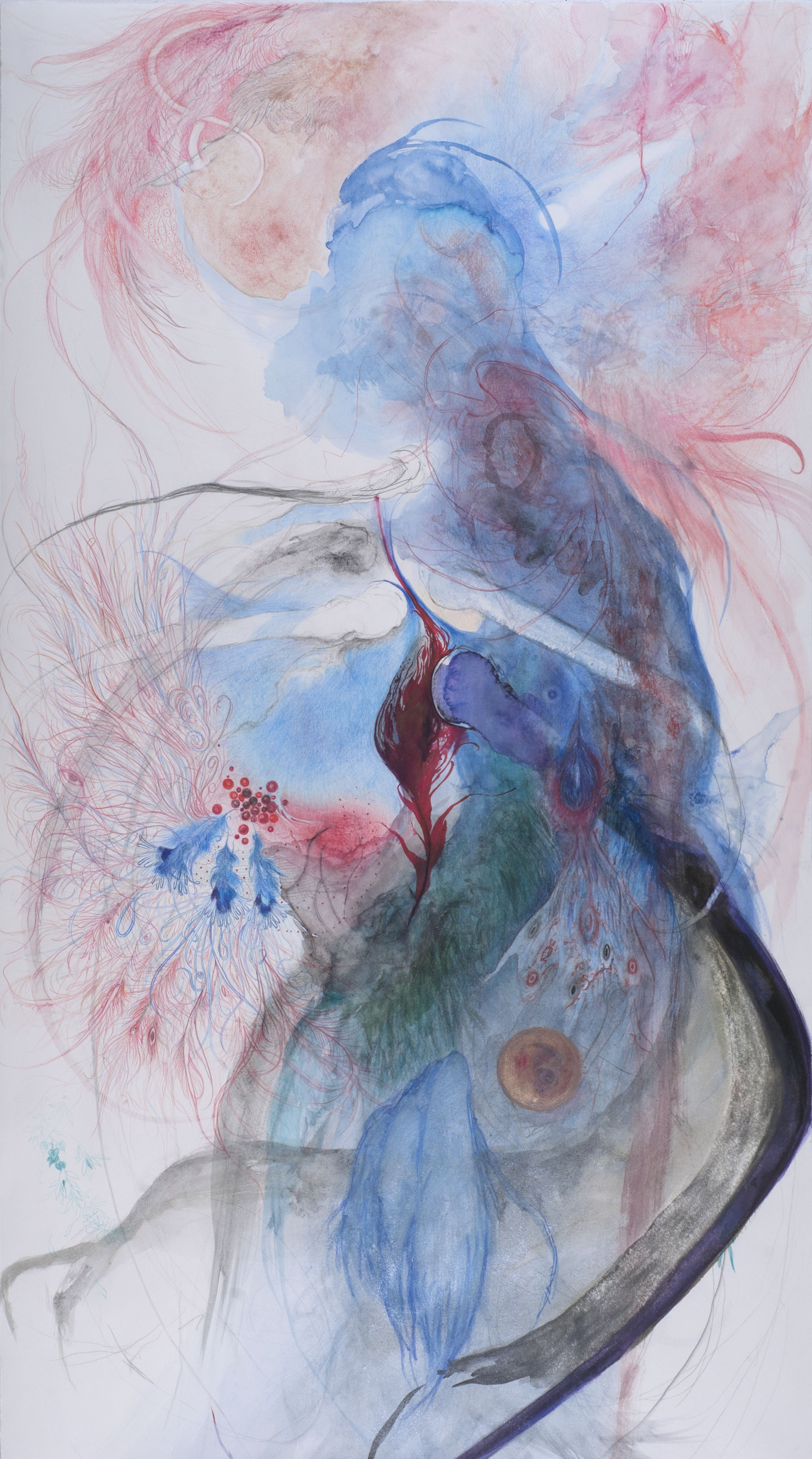 Bea Kwan Lim    Sehnsucht  , 2012 Colour pencil, graphite, handmade watercolour on paper 41.25 x 22.75 inches / 104.8 x 57.8 cm / BLi 5