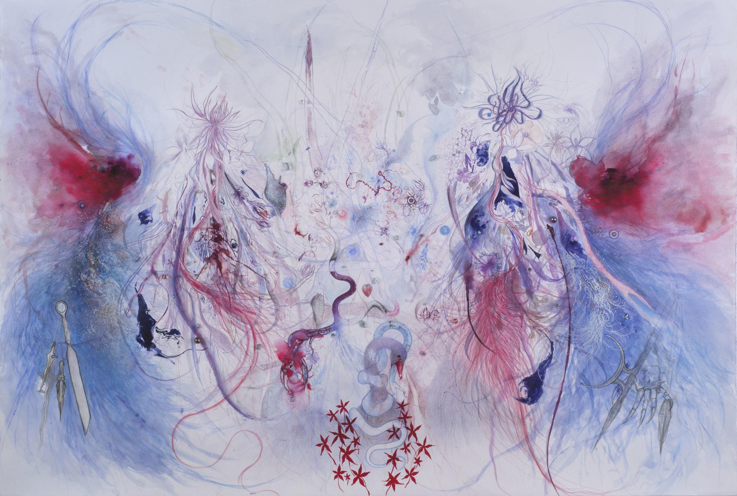Bea Kwan Lim    Animus Inviolabilis  , 2012 Colour pencil, glass & stone beads, graphite, handmade watercolour, ink on paper 30 x 44 inches / 76.2 x 111.8 cm / BLi 6