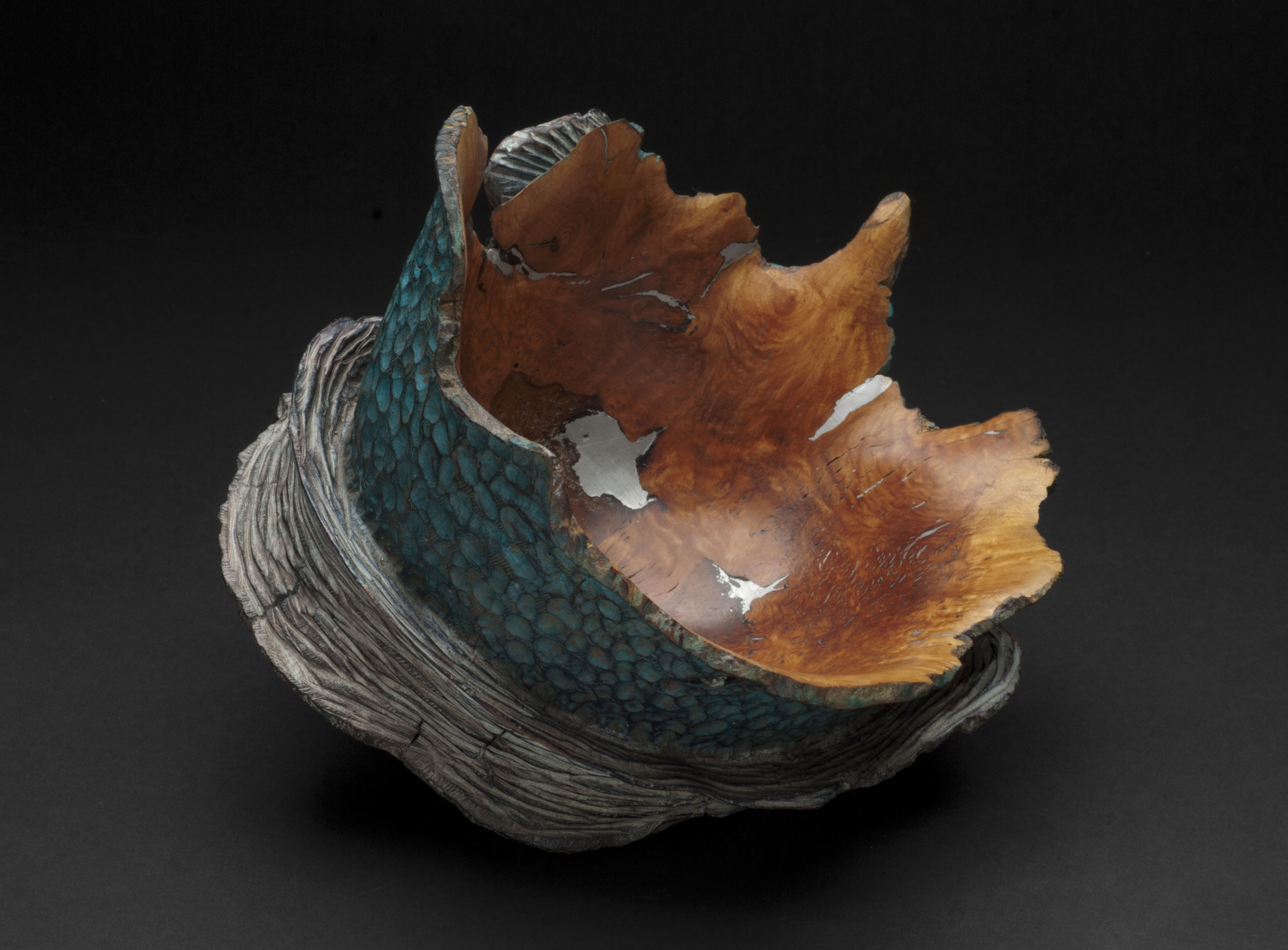 Christophe Nancey    Spiral Bowl 2  , 2012 Heather root, with pewter inlay and some parts patinated with pigments and oil / 5.91 x 7.87 inches / 15 x 20 cm / CNa 1