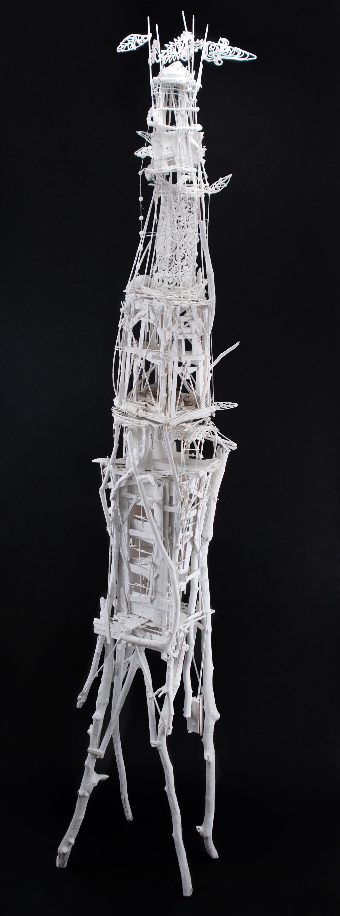 Sylvain Corentin    Rome Tower  , 2012 Wood, canvas, wire, yarn, glue, paint 88 x 16 x 13 inches / 223.5 x 40.6 x 33 cm / SCo 5