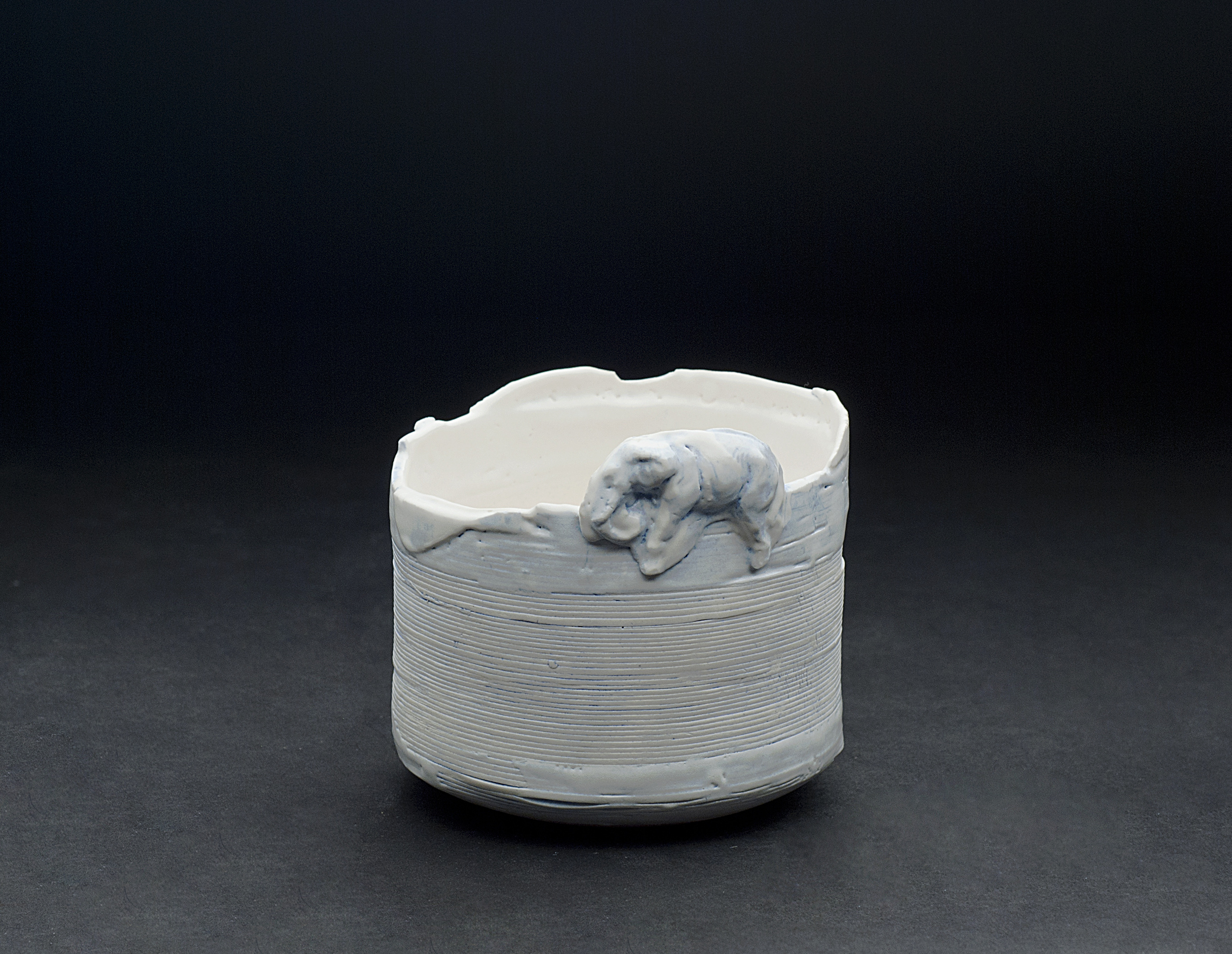 Hideo Matsumoto    Chawan (White & Blue) with Signed Box  , 2005 Porcelain 4 x 4 x 4 inches / 10.2 x 10.2 x 10.2 cm / HMA 3