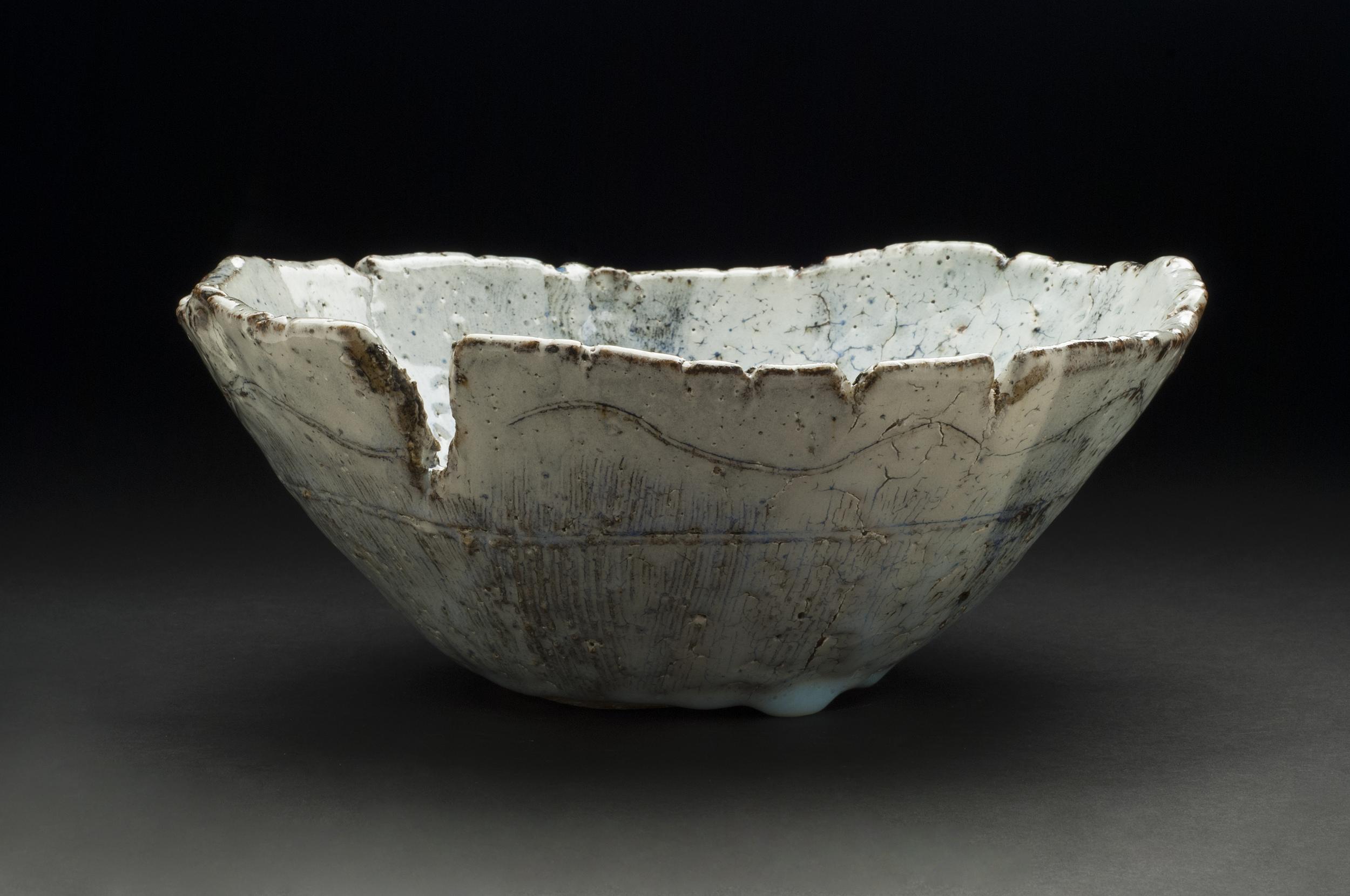 Jane Wheeler    Black Ice Bowl  , 2013 Stoneware clay with chun glaze, slab built 4.5 x 11 x 11 inches / 11.4 x 27.9 x 27.9 cm / JWh 6