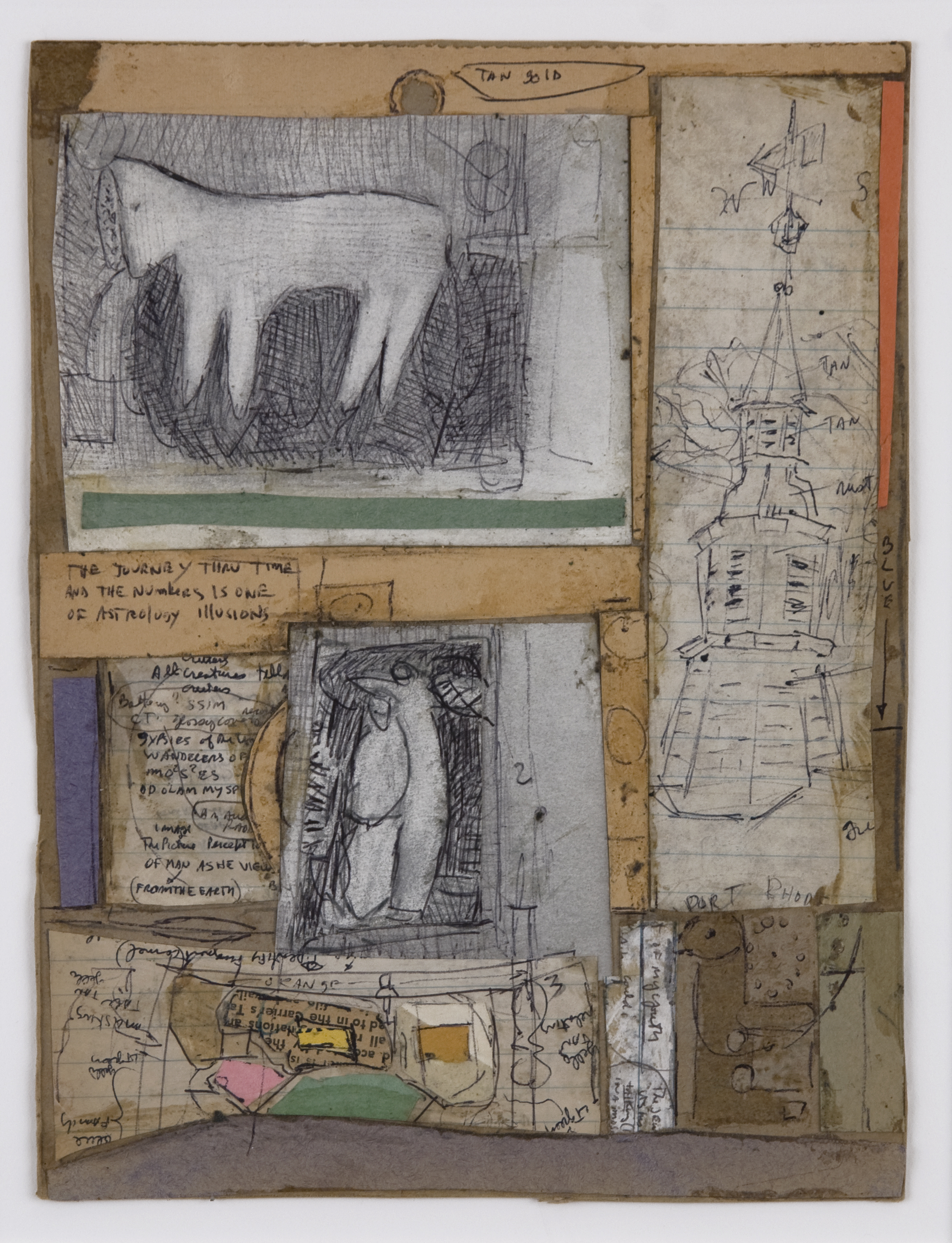 Jerry Wagner    Tan Gold  , c.1990s Mixed media, collage/paper 8.25 x 6.25 inches / 21 x 15.9 cm / JWa 8